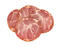Nicely Grained Round Salami Slices Royalty Free Stock Photography