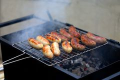 Nicely grilled sausages. Royalty Free Stock Photo