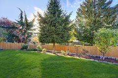 Nicely manicured backyard with Beautiful landscaping Stock Photography