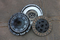 Nicely rebuilt clutch and pressure plate of an old german 1990 4WD van, rebuilt in Chile Royalty Free Stock Photos
