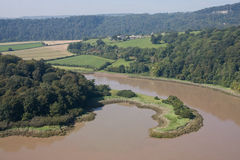 Nicely shaped peninsula on the river Wye Stock Photos