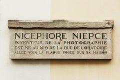 Nicephore Niepce, fotografia nowator, pomnika talerz w Saone, Francja Fotografia Stock