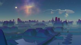 Nicestwienia UFO nad miastem obcy royalty ilustracja