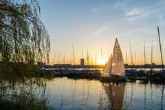 Sailingboat Alster Hamburg royalty free stock image