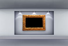Niche with frame and spotlights for exhibit. 3d niche with spotlights and empty picture frame for exhibit in the grey interior vector illustration
