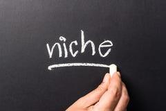 Niche. Hand underline Niche word on chalkboard Stock Images