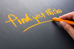 Niche. Hand writing Find Your Niche on chalkboard royalty free stock images