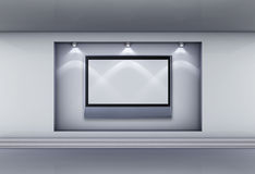 Niche with lcd tv and spotlights for exhibit. 3d niche with spotlights and empty lcd tv for exhibit in the grey interior stock illustration
