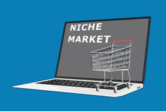 Niche Market concept. Render illustration of Niche Market concept with a supermarket cart placed on the keyboard Royalty Free Stock Photos