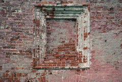Niche in old brick wall. With ledges Stock Photography