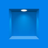 Niche for presentations. Blue niche for presentations illuminated light lamp stock illustration