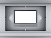 Niche with spotlights and flat tv for exhibit Royalty Free Stock Photo