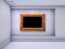 Niche with spotlights and frame for exhibit Royalty Free Stock Photos