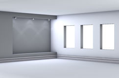 Niche with spotlights in the grey interior Stock Photography