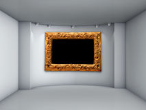 Niche with spotlights and picture frame Royalty Free Stock Photo