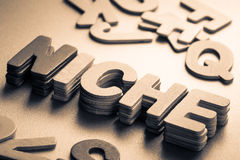 Niche. Stack wood letters as Niche word Stock Photo