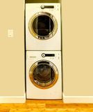 Niche for washer and dryer. Niche in the ivory wall for washer and dryer. Great design idea when there is no laundry room stock images