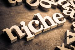 Niche Wood Word. With scattered wood alphabet on the table. Niche market for business concept royalty free stock photography