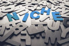 Niche. Word in scattered wood letters stock photo