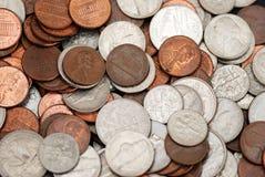 Nichel, monete da dieci centesimi di dollaro e penny Fotografia Stock Libera da Diritti