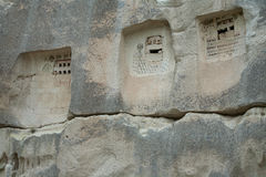 Niches carved into the rock. Cappadocia. Turkey stock photography
