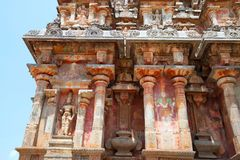 Niches and kumbhapanjaras, southern wall, Airavatesvara Temple, Darasuram, Tamil Nadu. View from South. Niches and kumbhapanjaras, southern wall, Airavatesvara royalty free stock image