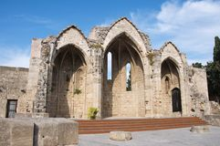 Niches of an old church in medieval town of Rhodes Royalty Free Stock Photo