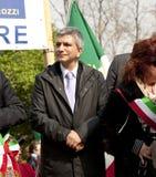 Nichi Vendola in 25 april 2010 Italië, marzabotto Royalty-vrije Stock Fotografie