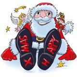 Nicholas με τα παπούτσια και ίχνη Χριστουγέννων στο χιόνι απεικόνιση αποθεμάτων