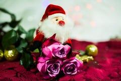 Nicholas που κρύβεται πίσω από τα τριαντάφυλλα, το άσπρες υπόβαθρο και τις σφαίρες Χριστουγέννων Στοκ Εικόνες