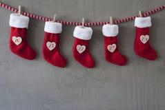Nicholas Boots As Advent Calendar, cemento, notte di Natale Fotografie Stock