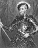 Nicholas Carew. (1496-1593) with full jousting armour on engraving from the 1800s. English courtier and statesman during the reign of Henry VIII. Executed for Royalty Free Stock Image