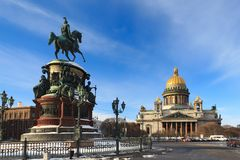 Nicholas I monument in St Petersburg Stock Image