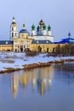 Nicholas Shartomsky monastery, winter day. Blue sky Royalty Free Stock Photo