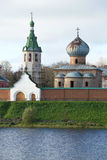 Nicholas The Wonderworker`s cathedral and belltower in the Nikolsky Old Ladoga monastery in the cloudy October afternoon. Russia. Nicholas The Wonderworker`s royalty free stock images