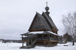 Nicholas wooden church of the 18th century in the winter in cent Royalty Free Stock Photo