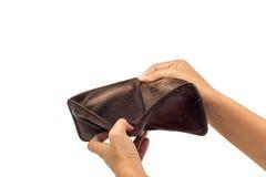 Nicht in der braunen ledernen Geldbörse sich leeren Stockfotos