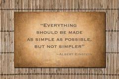 Nicht einfacheres Zitat durch Einstein Lizenzfreie Stockbilder