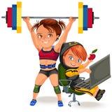 Nicht Frauenberufe, starkes muskulöses Frau Gewichtheben im sprt Sport-Klagenbikini und BH in anhebendem Barbell, ein starkes lizenzfreie abbildung