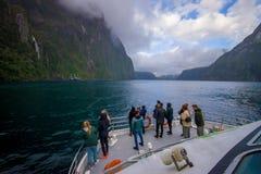 Nicht identifizierte Krone von den Leuten, welche die schöne Landschaft des hoher Gebirgsgletschers bei Milford Sound mit einem s Lizenzfreie Stockbilder