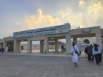 Nicht identifizierte moslemische Pilger in weißem ihram Stoff in Taif, Saudi-Arabien Stockbild