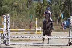 Nicht identifizierter Reiter überwindt das Hindernis springen Stockfoto