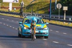 Nicht identifizierter Teilnehmer der 70. Polen-Rundfahrt, die 7. Etappenrennen in Krakau, Polen radfährt Ausflug d Lizenzfreie Stockbilder