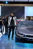Nicht identifiziertes vorbildliches Innovationsauto BMW-Reihe I8 Lizenzfreie Stockfotografie