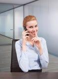 Nicht tun disturbe Geschäftsfrau am Telefon Lizenzfreies Stockbild