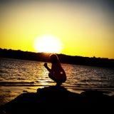 Nichte, Sonnenuntergang, See Thunderbird Lizenzfreies Stockbild