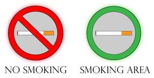 Nichtraucher- u. Raucherzonezeichen Lizenzfreie Stockbilder