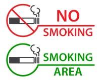 Nichtraucher- und Raucherzoneaufkleber Stockfotos
