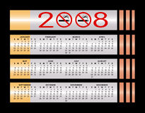 Nichtraucherkalender des zeichens 2008 stock abbildung