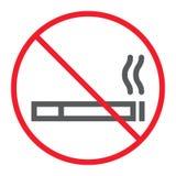 Nichtraucherlinie Ikone, Verbot und verboten lizenzfreie abbildung